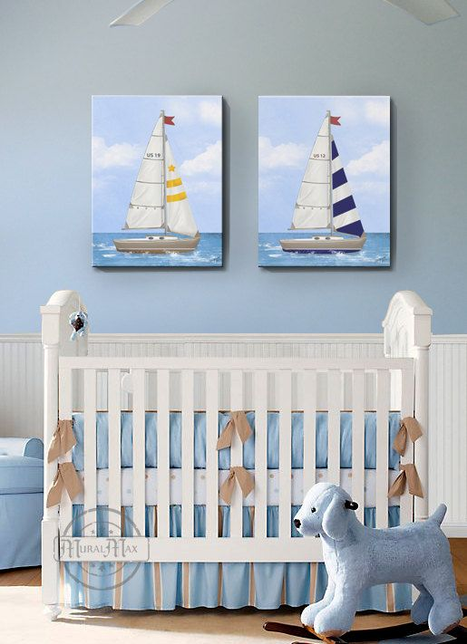 Nursery Art Baby Room Decor Nautical Sailboat Canvas Set Of Two X