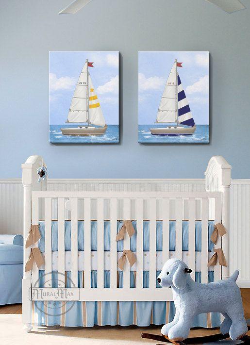 Nursery Art Baby Room Decor Nautical Sailboat Canvas Set Of Two X