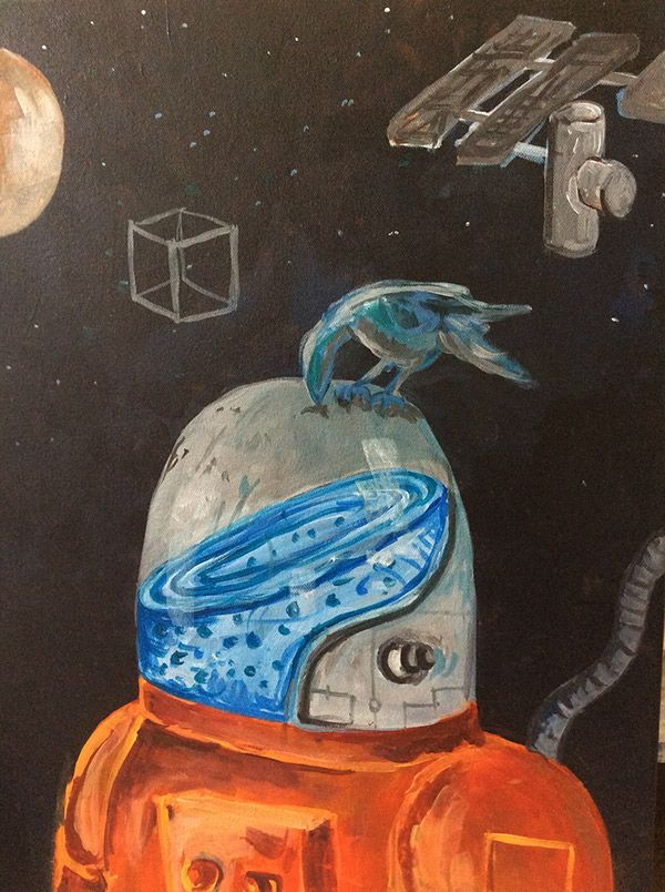 Space Bird. Acrylic artwork. Acrílico sobre tela. Technology