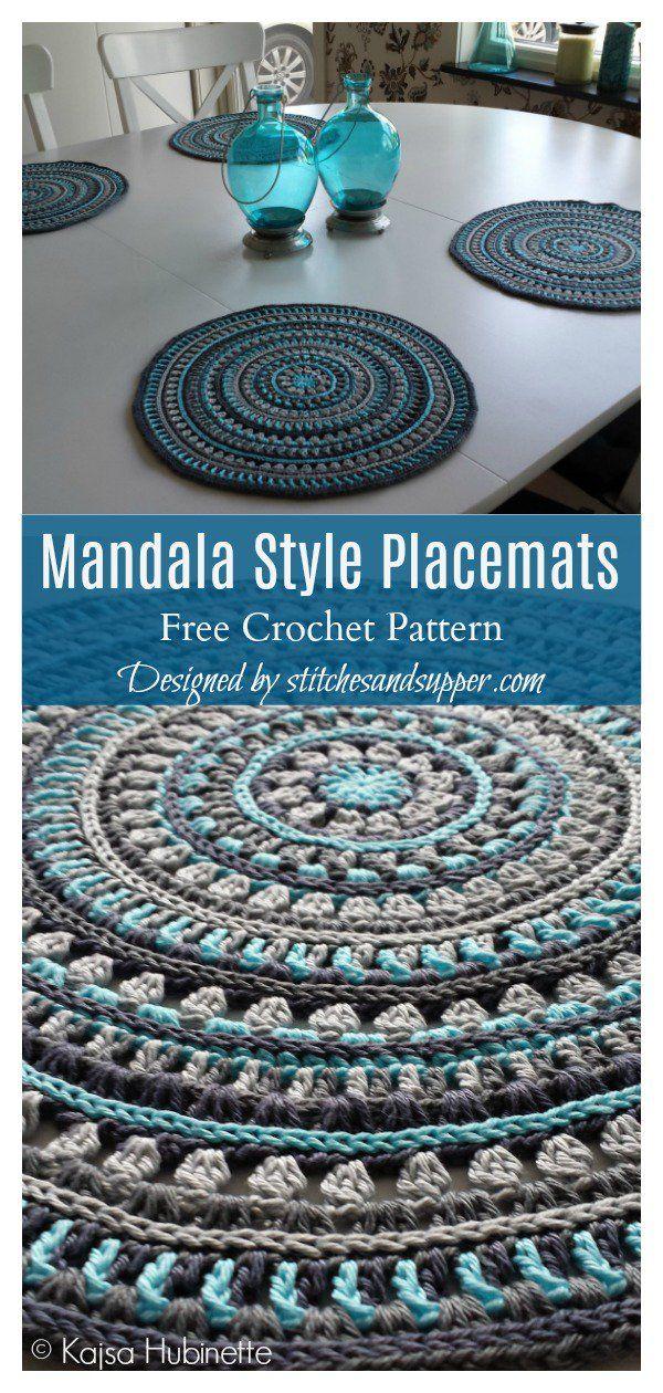 4 Mandala Placemat Free Crochet Pattern