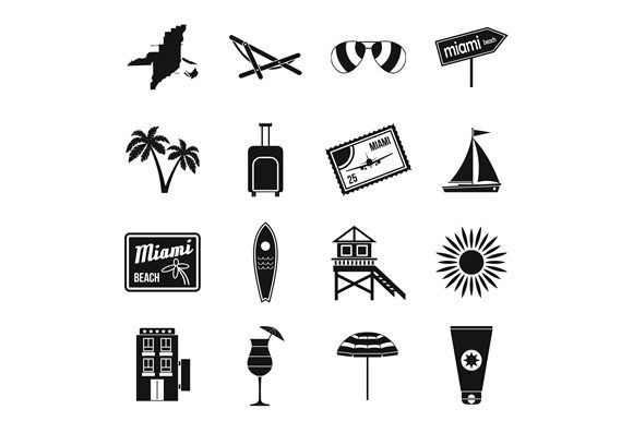 Miami icons set, simple style  @creativework247