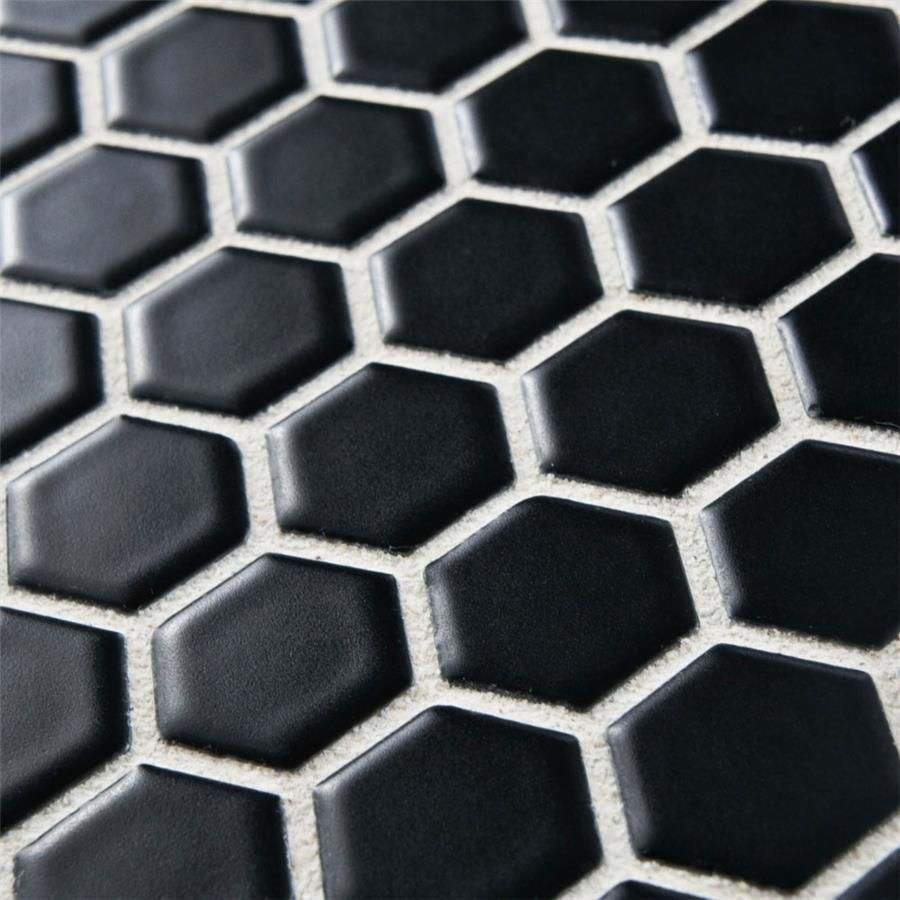 1 Hexagon Mosaic Tile Black Matte Finish Hexagon Mosaic Tile Mosaic Tiles Black Hexagon Tile