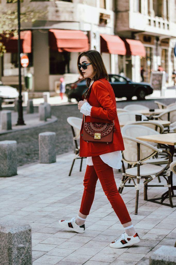Mango red suit, zara red trousers, asos