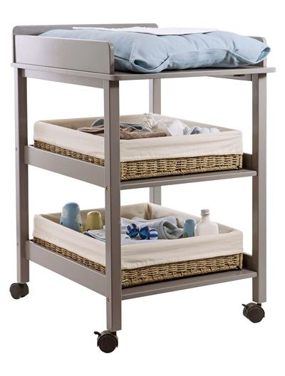 Compact Changing Table Wheels With Brakes For Moving Around And 2 Practical  Storage Shelves.