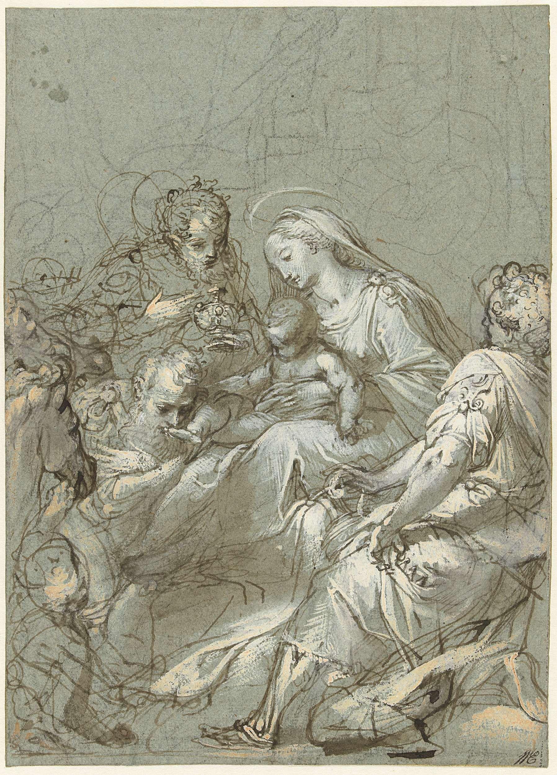 Federico Barocci - Aanbidding der koningen, 1545 - 1612; zwart krijt, pen in bruin, penseel in bruin, wit en lichtgeel op blauw papier, h 293mm × b 209mm. Rijksmuseum, Amsterdam.