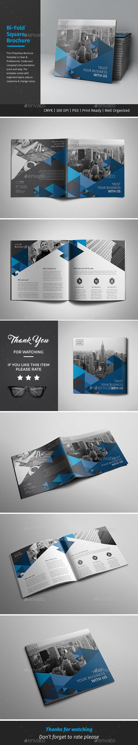 Corporate Bi-fold Square Brochure Template PSD.
