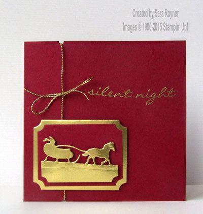 handmade Crhistmas card gold sleigh ride gold foil die cuts