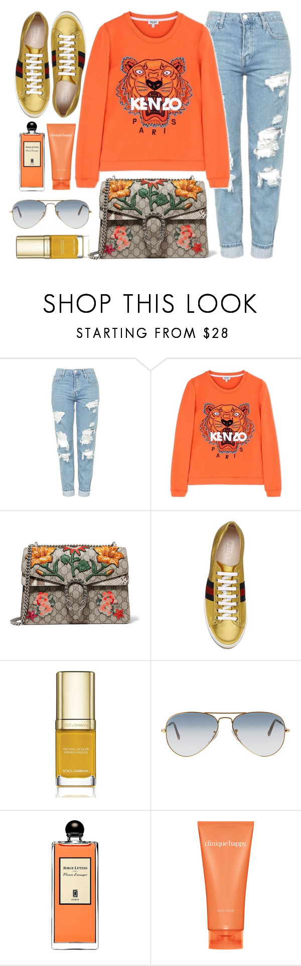 """""""Colorful"""" by monmondefou ❤ liked on Polyvore featuring Topshop, Kenzo, Gucci, Dolce&Gabbana, Ray-Ban, Serge Lutens, Clinique, casual, kenzo and orange"""