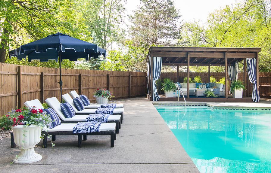 Pool Cabana Makeover The Lilypad Cottage Pool Gazebo Backyard Pool Pool Cabana
