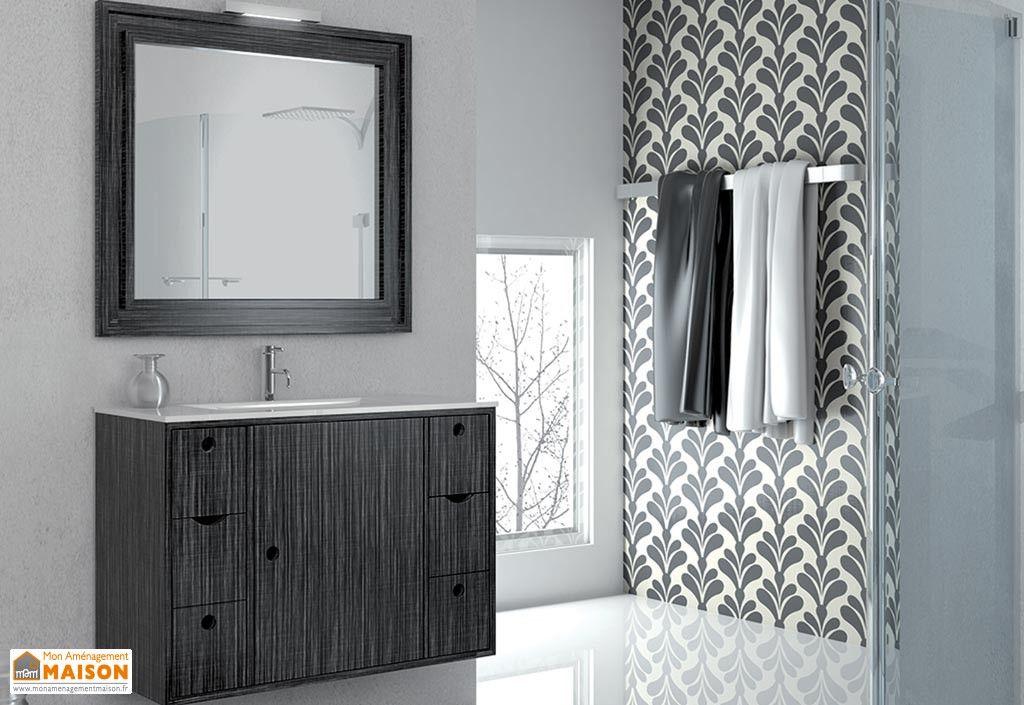 Meuble de Salle de Bain Suspendu avec Vasque, Miroir, Spot - Meuble Avec Miroir Pour Salle De Bain