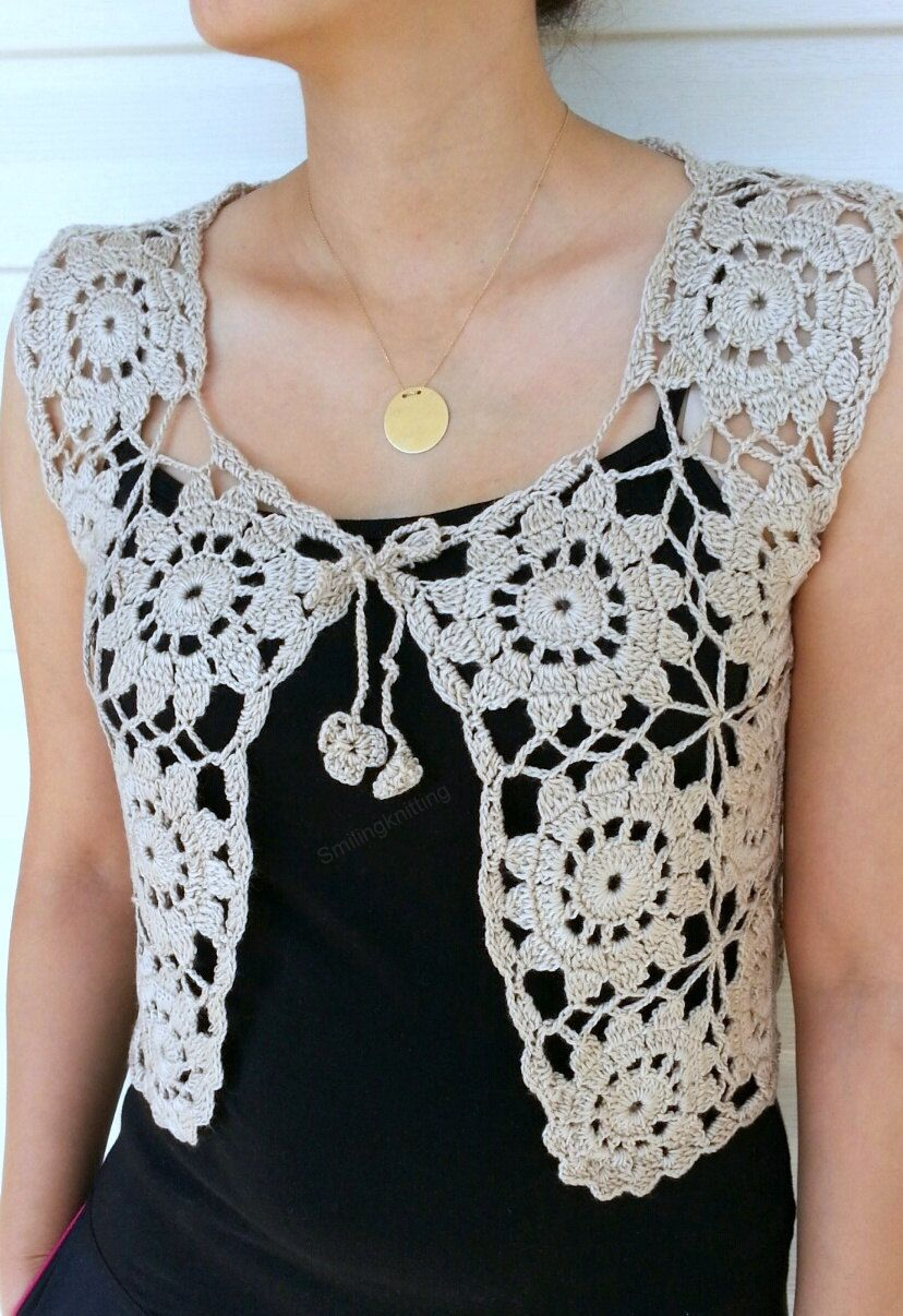 Granny Square Beige Vest, Crochet Sweater, Lace Top, Romantic Top ...