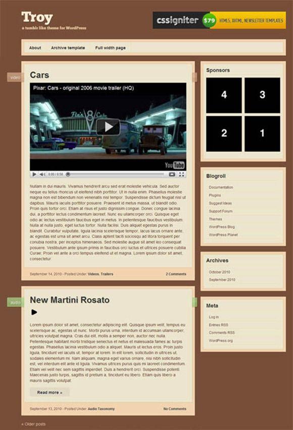 Troy WordPress Theme From CSSIgniter Theme Club #WordPress #tumblr ...
