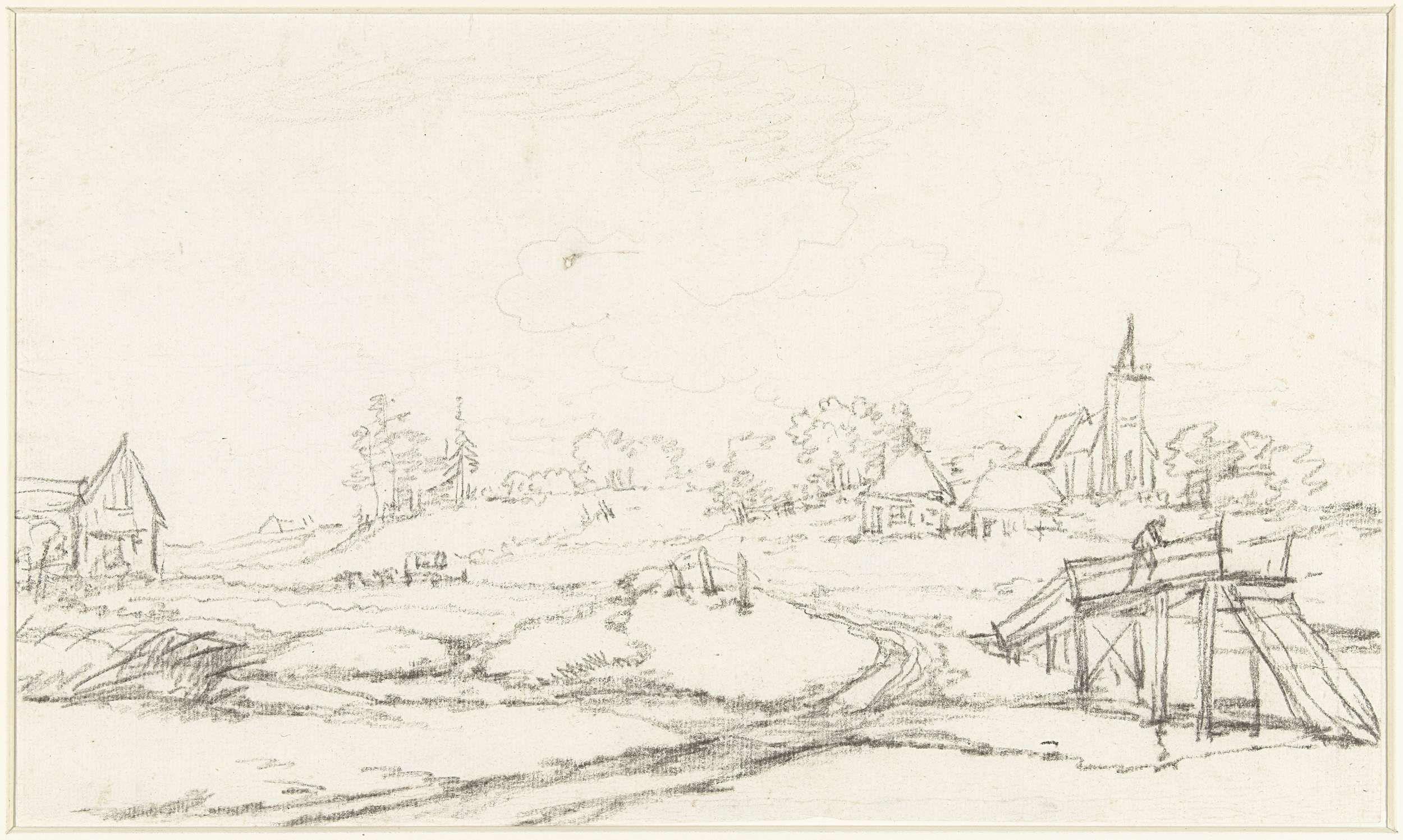 Jan Hulswit | Gezicht op de kerk te Heelsum, Jan Hulswit, 1776 - 1822 | Gezicht op de kerk te Heelsum; op de voorgrond een houten bruggetje.