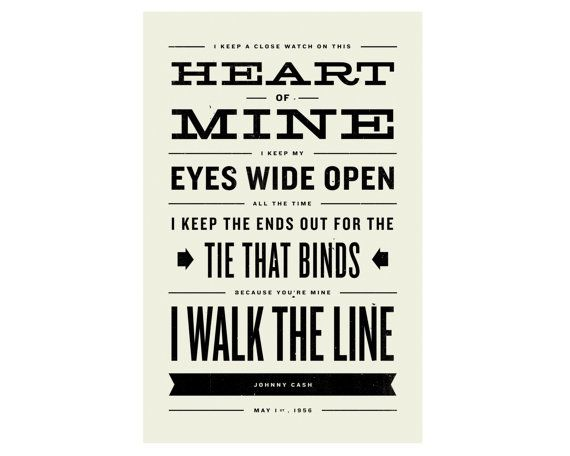 Johnny Cash Inspired Walk The Line Lyric Poster 11 X17 Etsy Johnny Cash Country Lyrics Lyric Poster