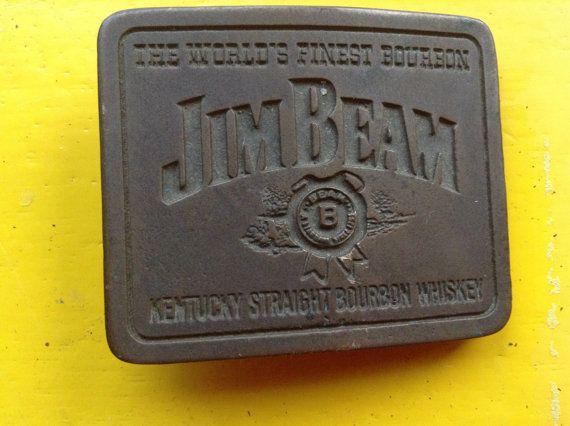 Vintage Jim Beam whiskey belt buckle. FREE SHIPPING by Mamaphias, $18.00