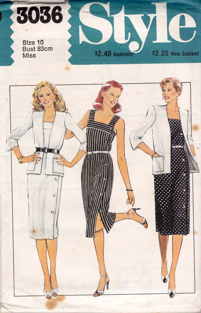 Style 3036 Womens Cardigan & Side Buttoned Dress Pattern 80s Vintage ...