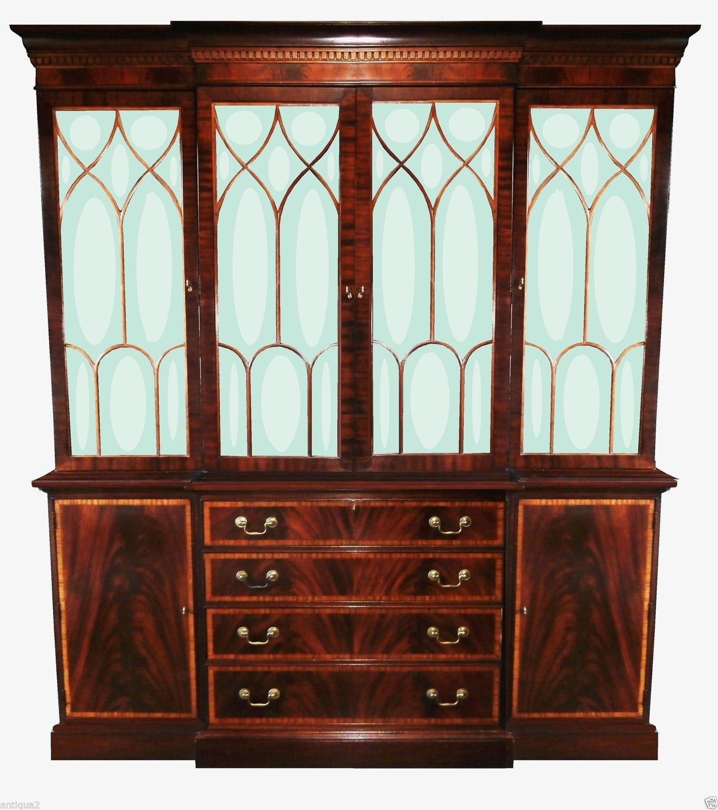 Ethan Allen English Georgian Regency Breakfront Bookcase Display China Cabinet