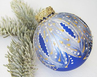 Faberge Inspired Christmas Ornament || glass ball, bauble, hand painted, cobalt blue, white, gold