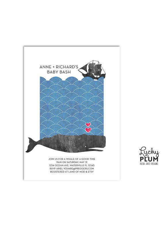 Whale Baby Shower Invitation Modern Ocean Invite Sea Blue Baby
