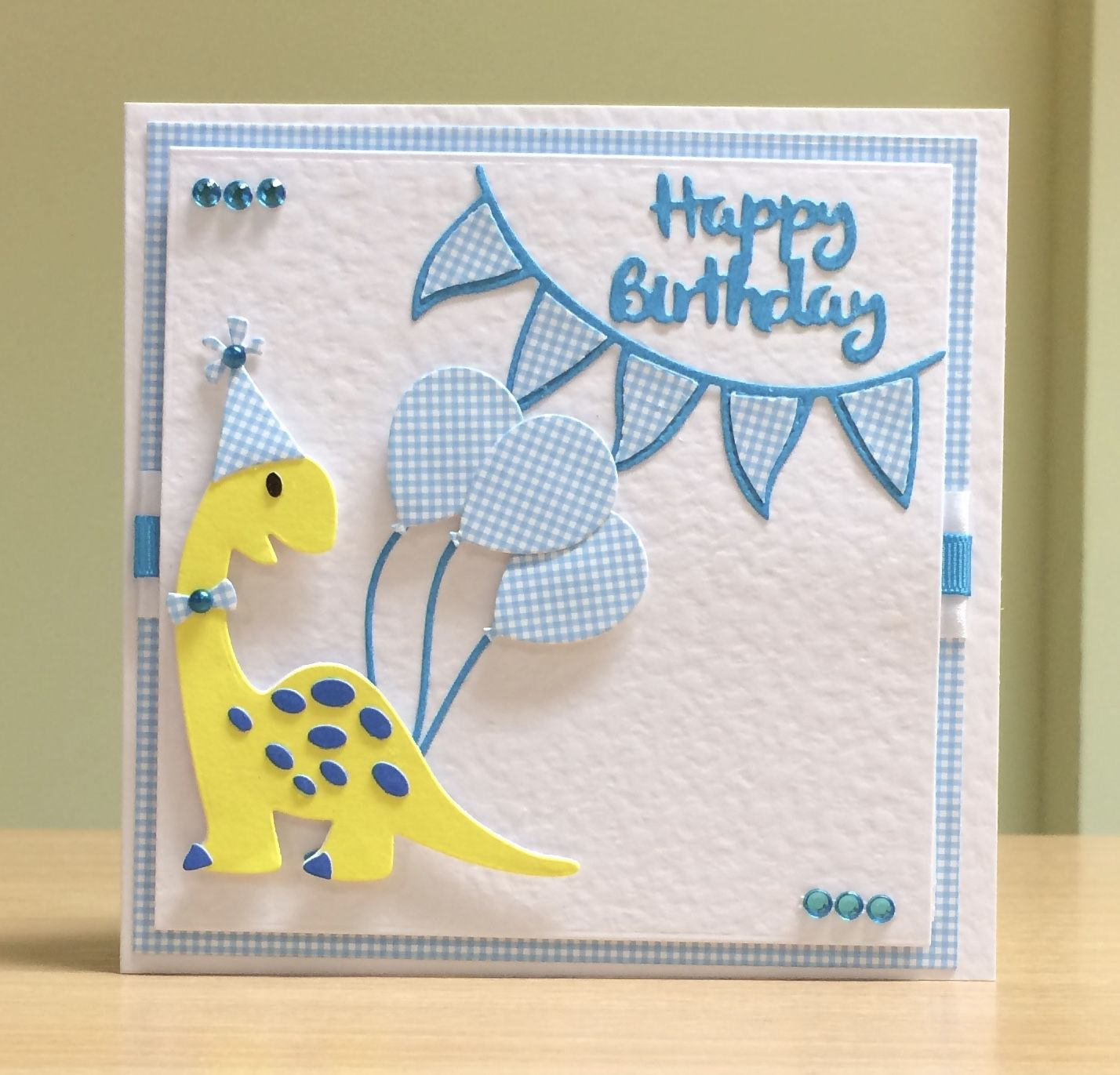 Birthday Card Handmade Marianne Dinosaur Die For More Of My Cards Please Visit Craftycardst First Birthday Cards 1st Birthday Cards Birthday Cards For Boys