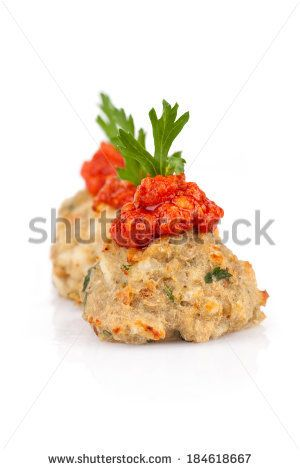 #Codfish #balls decorated with #onions and #tomatoes #sauce and #parsley leaf, on #whitebackground.  #autumn / #winter #food #recipe #recipes  #cuisine #cooking #culinary #gourmet #idea #ideas #royaltyfree #stockphotos via #Shutterstock