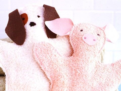 """Turn basic terry-cloth towels into charming bath-time pals with this simple sewing project from """"Martha Stewart's Encyclopedia of Sewing and Fabric Crafts."""""""