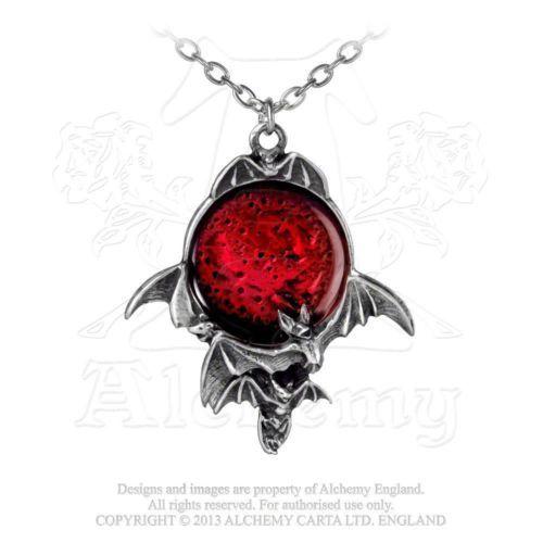 Alchemy-Gothic-Sinistra-Lua-De-Sangue-Morcegos-Pingente-Colar-Estanho-Ingles