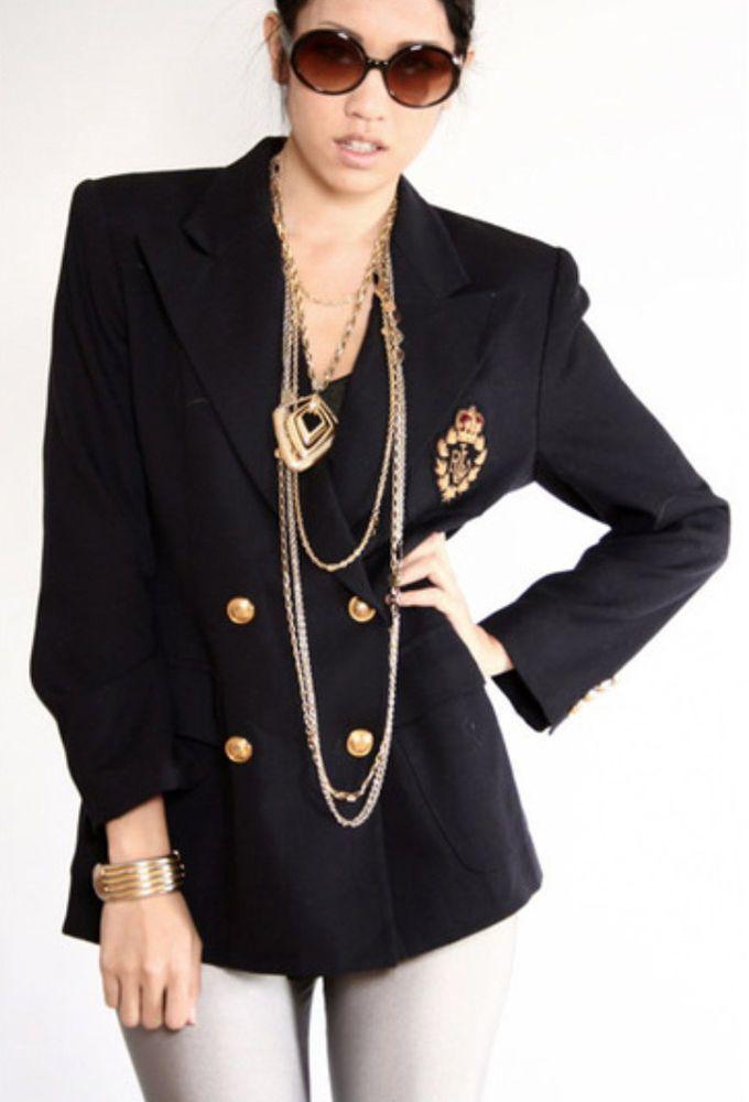 93950fd7a96 Vtg Ralph Lauren Womens Size 6 Black Wool Boyfriend Blazer w  Crest Mint!   RalphLauren  Blazer