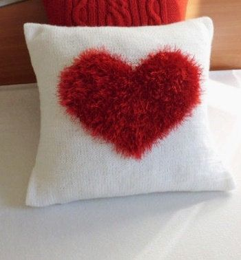 Decorative knit pillow cover love Red heart knit by Adorablewares