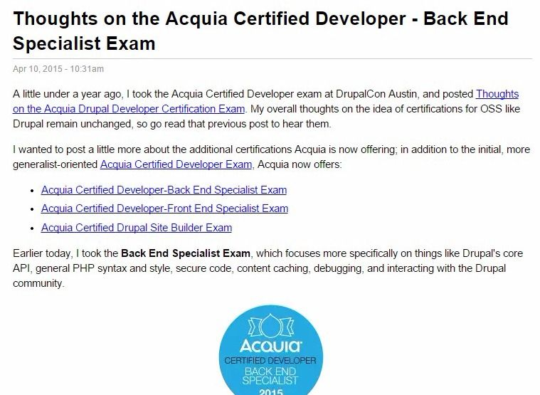 Thoughts on the Acquia Certified Developer - Back End Specialist Exam | Midwestern Mac, LLC