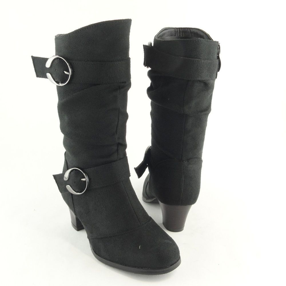 e2a6a6851de7 Girl s Mid Calf Slouchy High Heel Boots Faux Suede Black   side zip kids  shoes