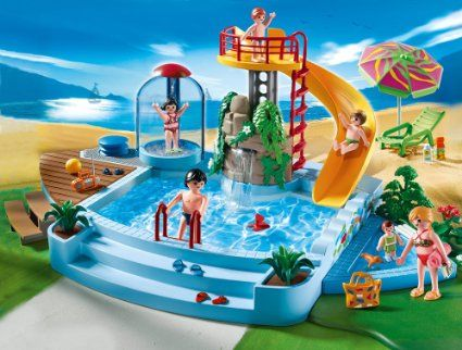Amazon.com: Playmobil 4858 Open Air Pool With Slide: Toys U0026 Games