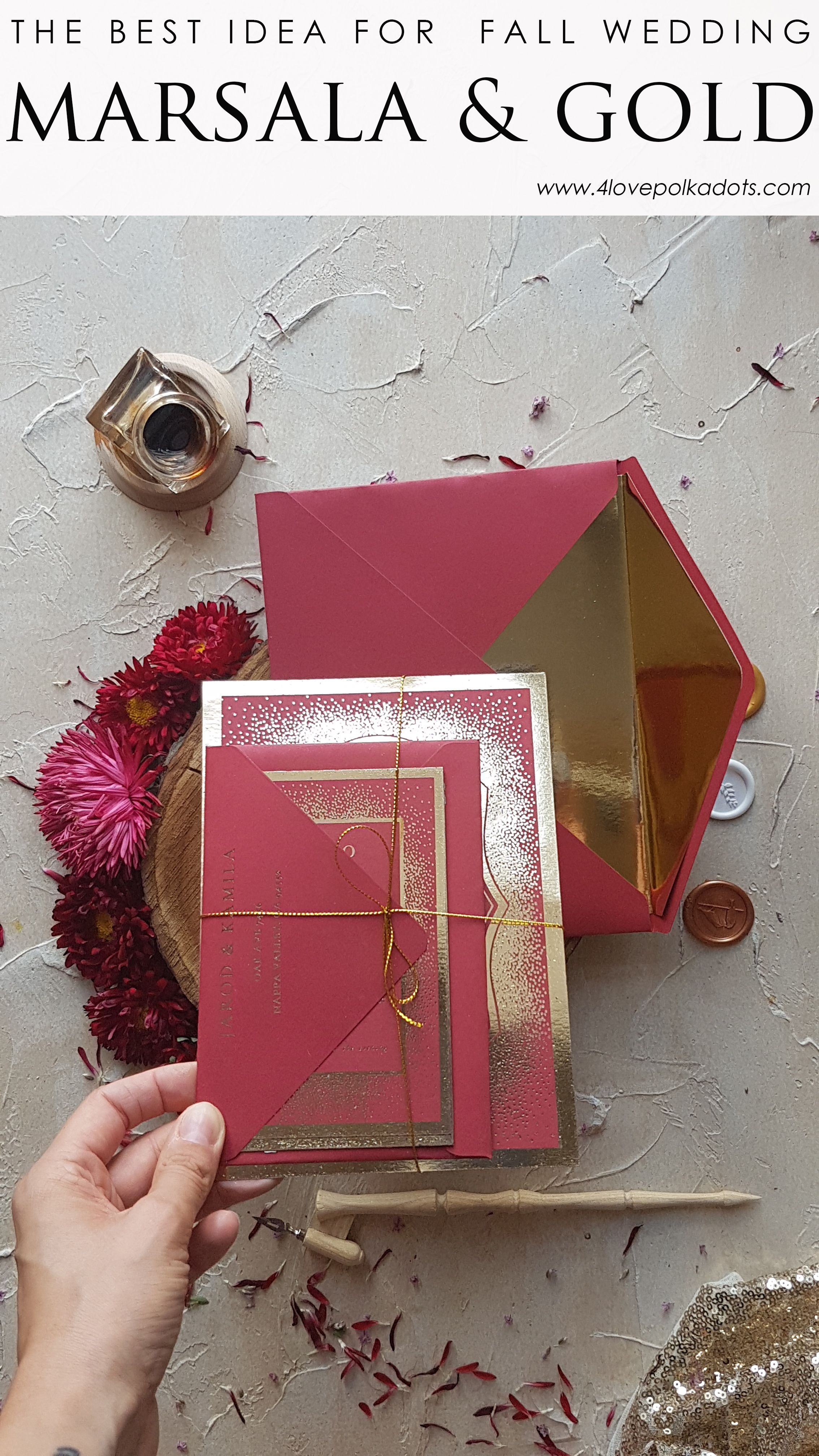 Marsala and gold wedding invitations perfect for your glamour ...