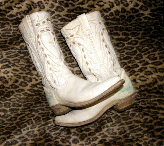 3c049b622ac White Cowboy Boots womens 7.5 Texas buck RETRO VINTAGE ROCK N rOLL ...