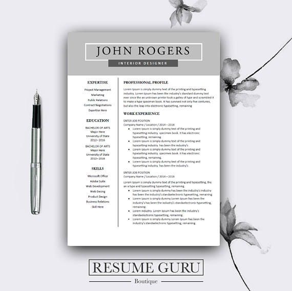 Resume Template Professional Resume Template for Word and Pages - resume 1 or 2 pages