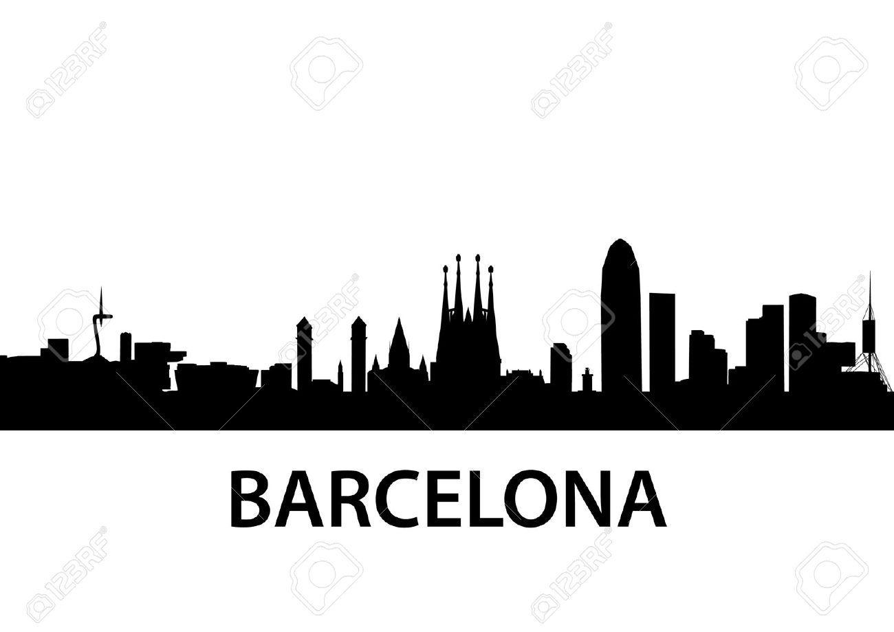 Barcelona skyline stencils skylines pinterest - Stencil barcelona ...