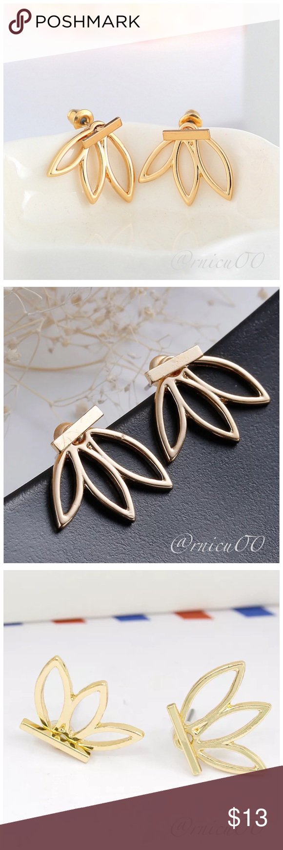 Gold hollow flower lotus stud earrings boutique lotus meaning gold hollow flower lotus stud earrings adorable gold flowerlotus stud earrings perfect for the minimalist lotus meaning grace purity beauty victory izmirmasajfo