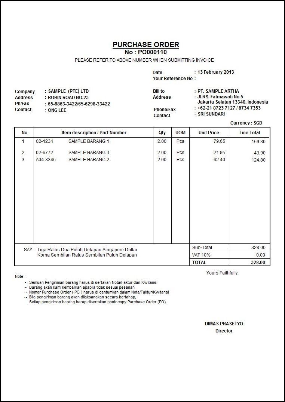 contoh form purchase order barang  Contoh Faktur Pembelian | Barang untuk Dibeli | Pinterest | Software
