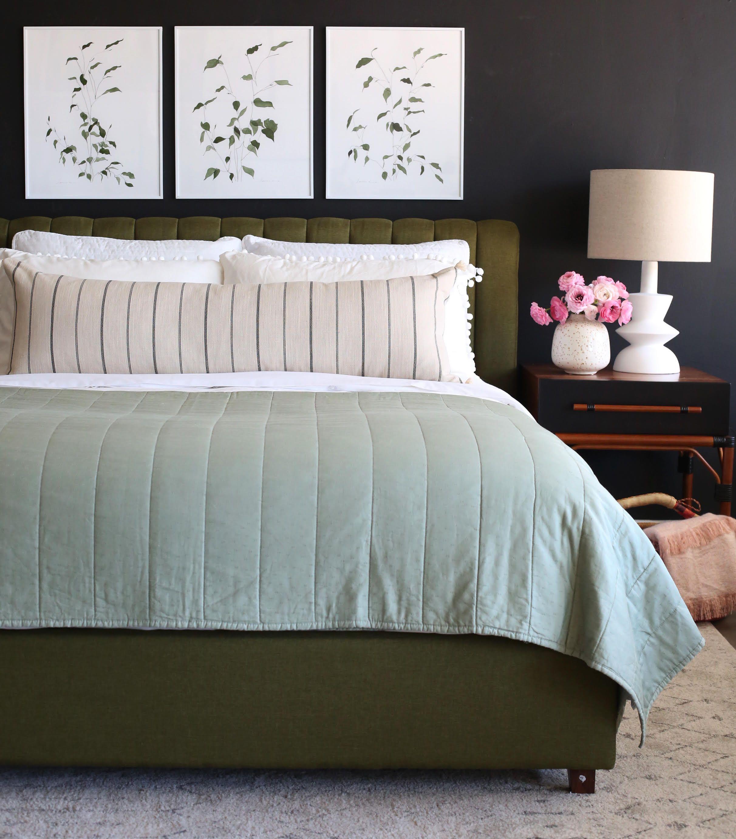 Organic earthy bedroom triptych art from jennyus print shop bed