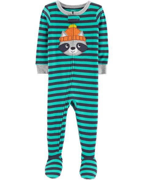 8dfe64cb4a53 1-Piece Raccoon Snug Fit Cotton PJs