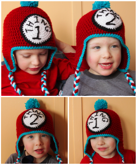 Thing 1 and Thing 2 Crochet Hats - free pattern