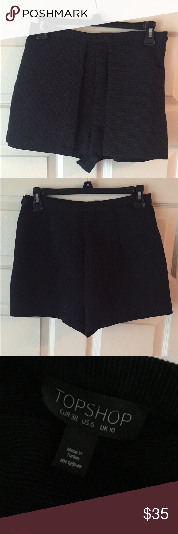 Topshop Shorts US Size 6 Worn once and look brand new! Women's Topshop shorts US size 6. Side zipper closure. Have flaps on front. High waisted fit. Topshop Shorts