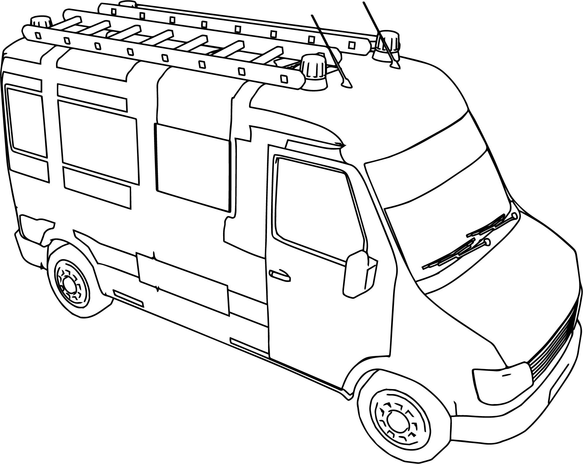 Awesome Fire Truck Mini Minibus Coloring Page Fire Trucks Coloring Pages Coloring Pages For Kids