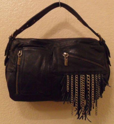 NEW JUNIOR DRAKE Kirrin Black Leather Shoulder Bag Handbag $288 (Save $57)