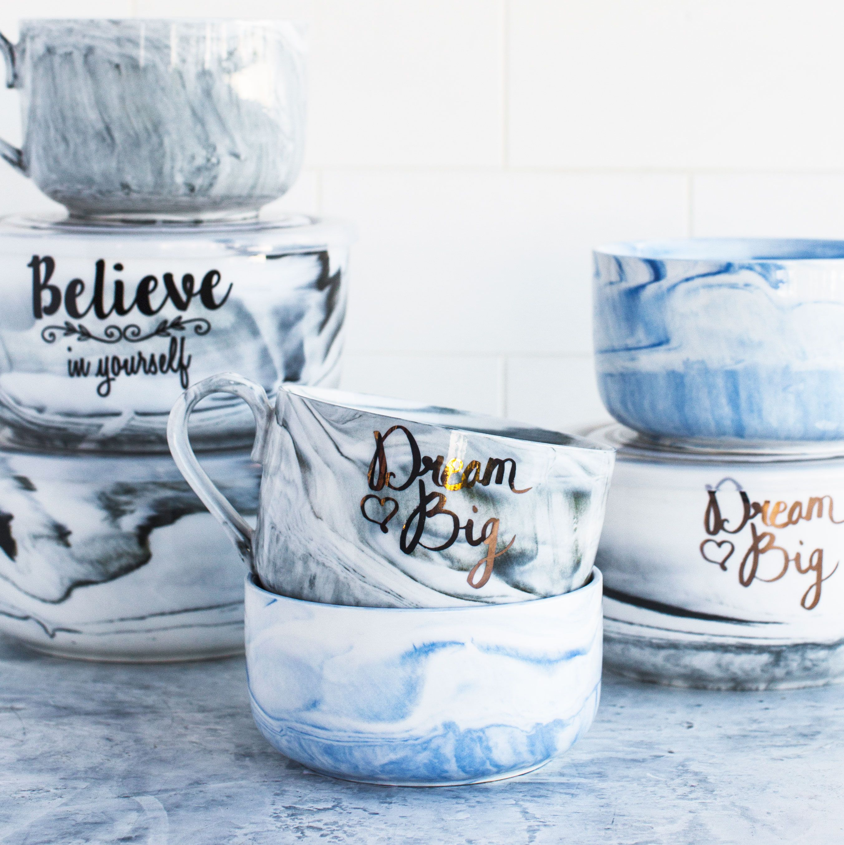f05b4baa9bc Our gorgeous marbled microwave me jars and mugs. Dream big & believe ...