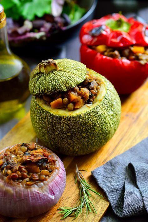 Stuffed Round Zucchini Vegan Petits Farcis