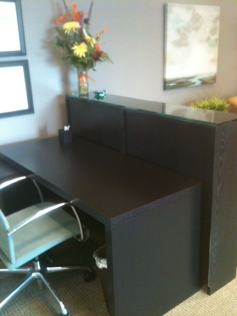 Malm Desk And Billy Bookcase As Reception Desk View 1 Reception Desk Diy Ikea Reception Desk Cubicle Makeover