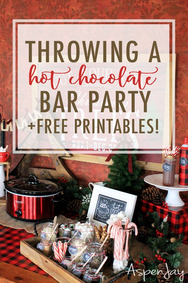 Throwing a Hot Chocolate Bar Party + free printables #hotchocolatebar
