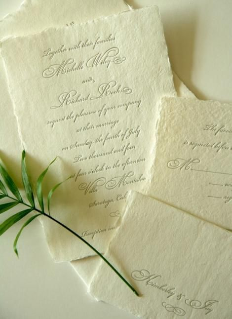 letterpress handmade paper deckle edge eco-fiendly--looks like, Wedding invitations