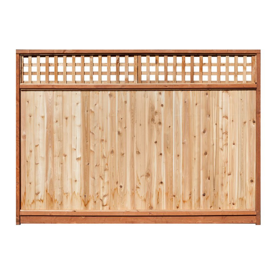 Shop 6 ft x 8 ft western red cedar lattice top wood fence for Lattice screen fence